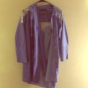 Zara blue stripe long sleeve shirt dress